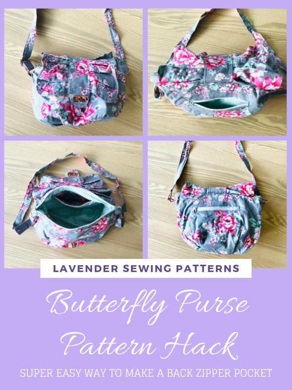 Butterfly Purse Pattern Hack: Back Zipper Pocket
